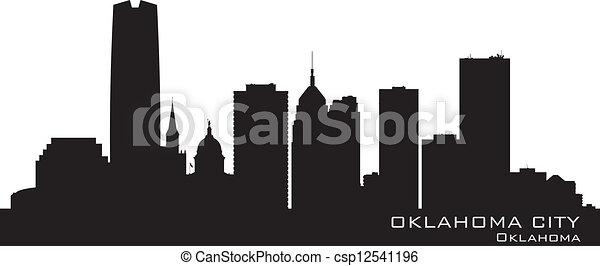 Oklahoma City skyline. Detailed silhouette - csp12541196