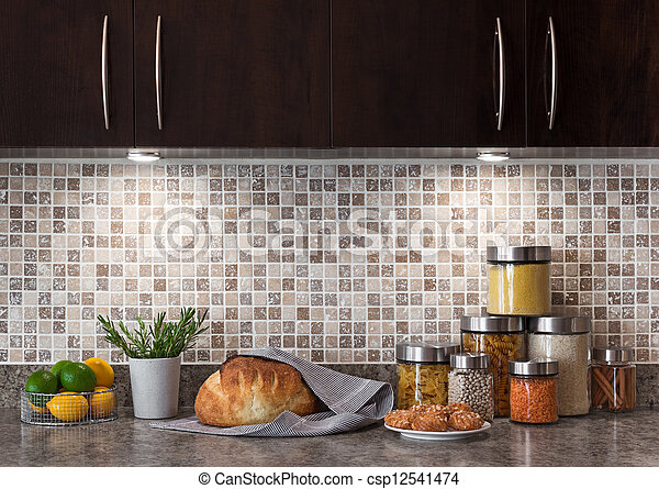 Food ingredients in a kitchen with cozy lighting - csp12541474