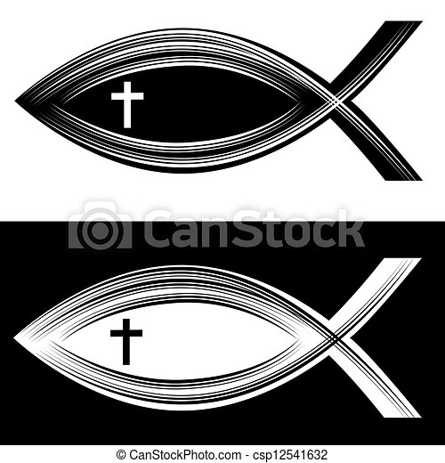Vector Clip Art of christian fish symbol with cross csp10350514 ...
