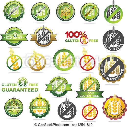 Vector Clip Art of Huge collection gluten free seals. Various ...