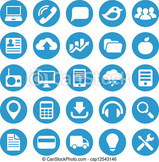 Eps Vector Of Icons For Web Site In Blue Circle Icons