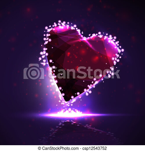 Futuristic heart, abstract background, vector illustration eps10 - csp12543752