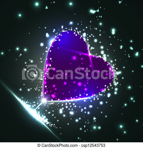 Futuristic heart, abstract background, vector illustration eps10 - csp12543753