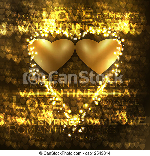 Vector valentines hearts illustration, abstract background , futuristic heart eps10 - csp12543814