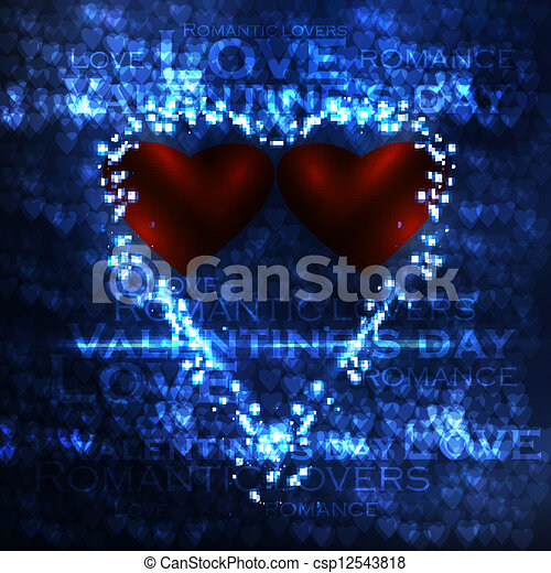 Vector valentines hearts illustration, abstract background , futuristic heart eps10 - csp12543818