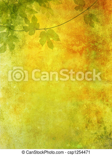 Grunge background with grape leaves - csp1254471