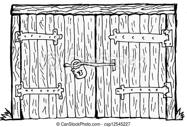 Vector Illustration Of Old Gate Old Wooden Locked Gate