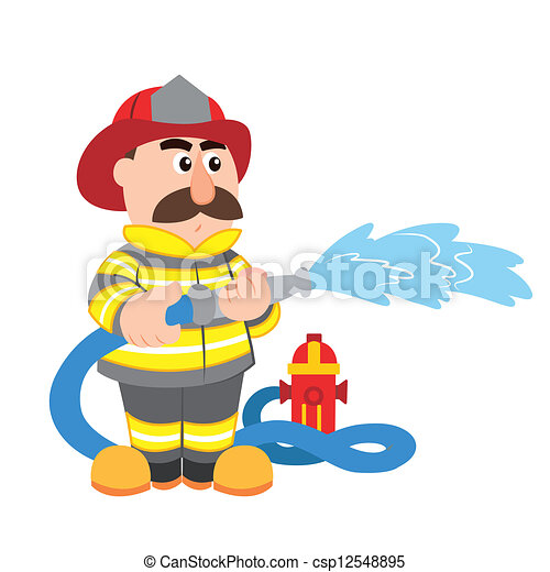 an illustration of cartoon fireman ,vector - csp12548895