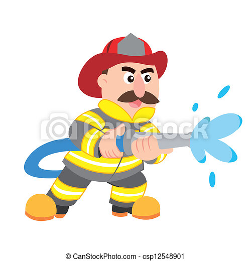 an illustration of cartoon fireman , vector