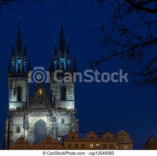 View of a Church of Our Lady before Tyn at night - csp12549383