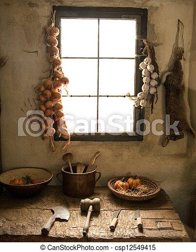 Kitchen inside rural house - csp12549415