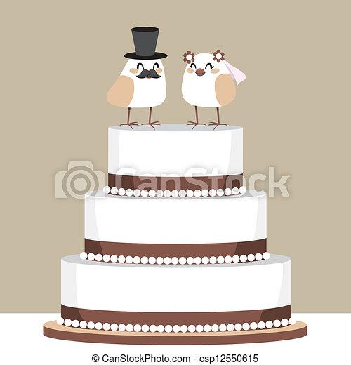 Vector Clip Art of Birds Love Wedding Cake - Beautiful classic ...