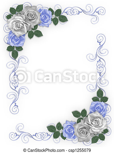 Roses Blue and white Wedding Border - csp1255079