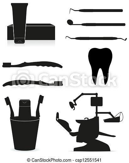 dental instruments black silhouette - csp12551541