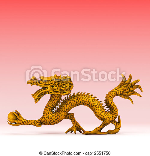 Chinese Golden Dragon Drawing 3d Rendered Chinese Golden