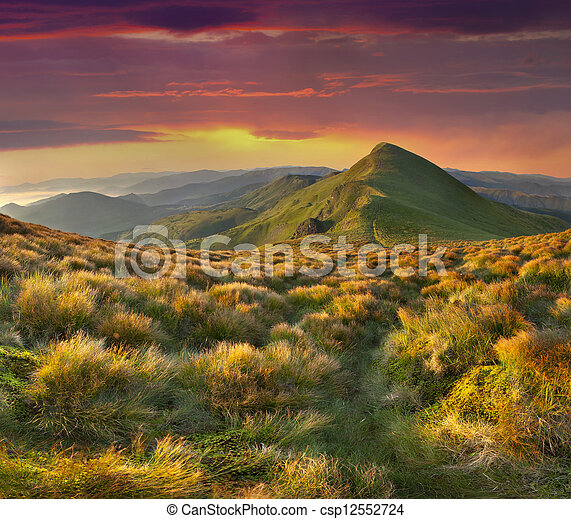 Beautiful summer landscape in the mountains. Sunset with dramatic sky - csp12552724