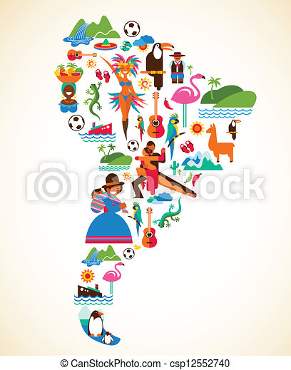 South America love - concept illustration with vector icons - csp12552740