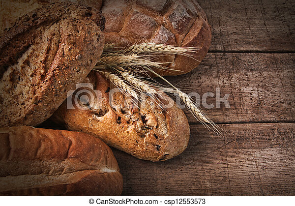 panes, surtido, madera,  bread - csp12553573