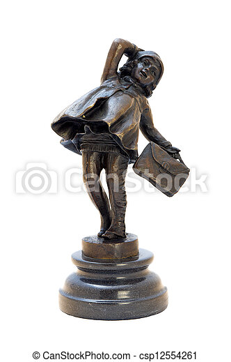 Antique bronze figurine of the girl with bag. - csp12554261
