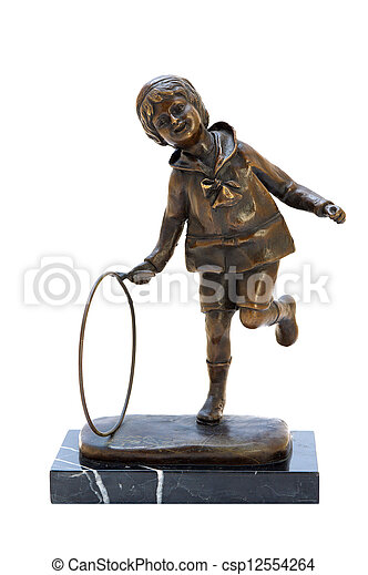 Antique bronze figurine of the boy with hoop. - csp12554264