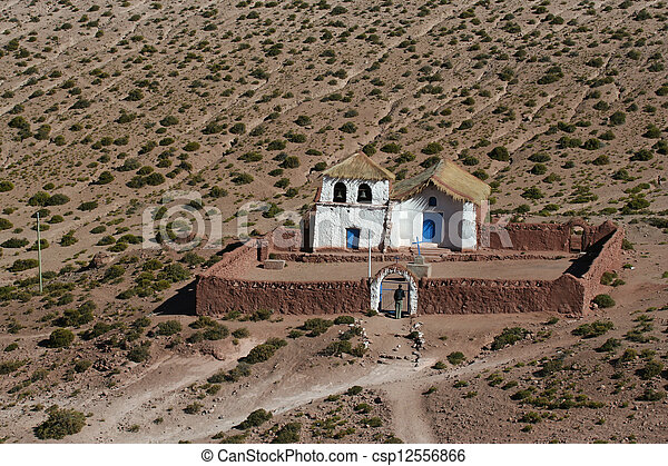 Altiplano church at Machuca - csp12556866