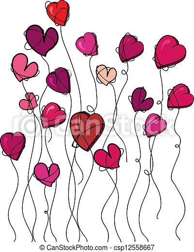 Clip Art Vector of Valentine flowers heart background - Valentine ...