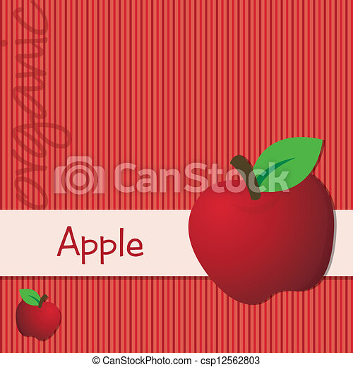 Vector Clipart of Fruit - Bright organic red apple card in vector format