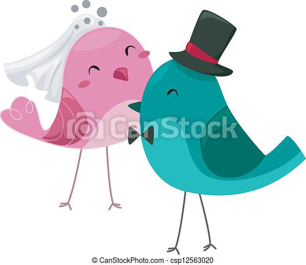 Bride and Groom Birds - csp12563020