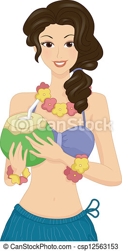 Clipart Vector of Grass Skirt Girl - Illustration of a Woman ...