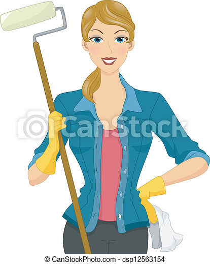 Clipart Vector of Painter Girl - Illustration of a Woman ...