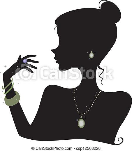 Ilustración, Feature, el, silueta, de, Un, mujer, Llevando, vario, accesorios