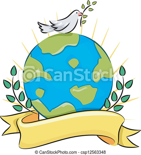 EPS Vector of Peace on Earth - Illustration of a Dove Carrying an ...