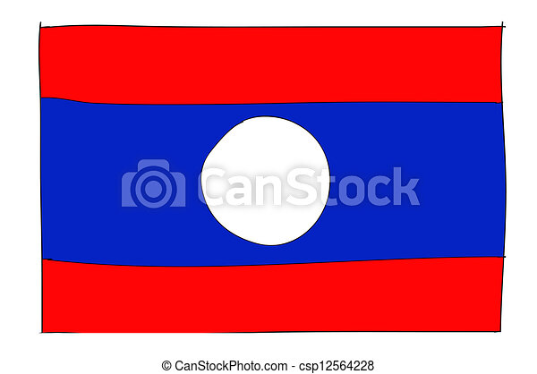 hand drawn   of flag of Laos - csp12564228