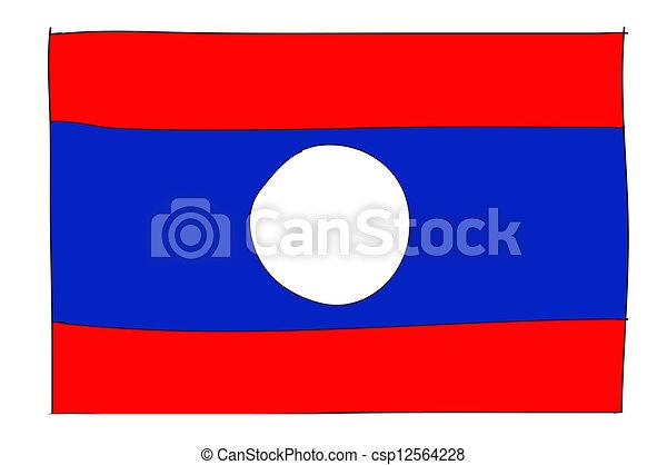 hand drawn   of flag of Laos - csp12564228