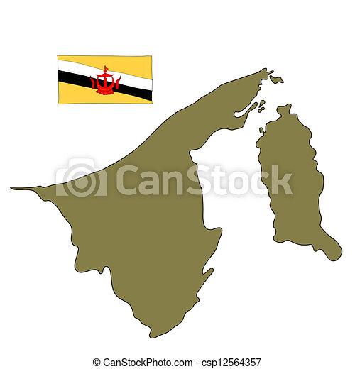 文莱, 旗, 地图