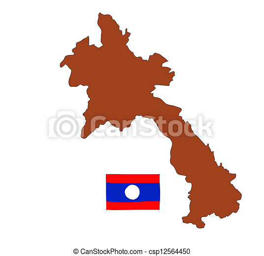 hand drawn   of flag of Laos - csp12564450