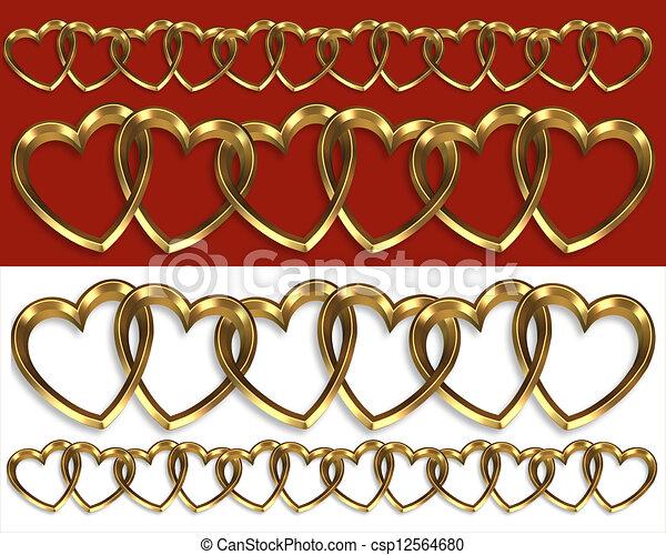 Illustration of Valentine borders gold hearts - Valentine borders ...