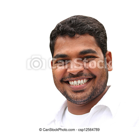 Closeup of happy handsome young business man expressing confidence and positive attitude in relaxed style. The young adult's photo is isolated on white background and is of indian origin - csp12564789