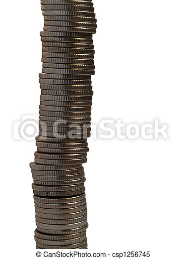 Pile of nickel coins - csp1256745