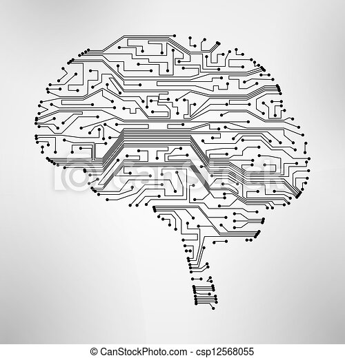 Clipart Vector of circuit board, form of brain eps10 - circuit ...: becuo.com/circuit-art-brain