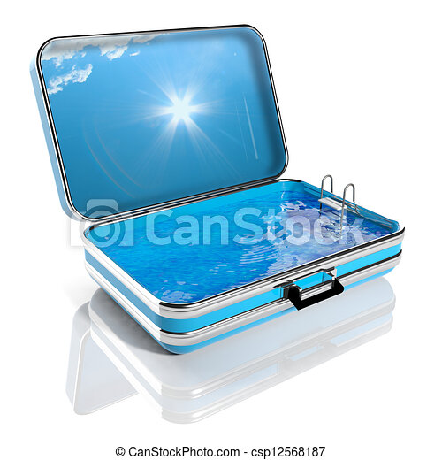 Summer vacation concept. Travel suitcase with Swimming pool inside  - csp12568187