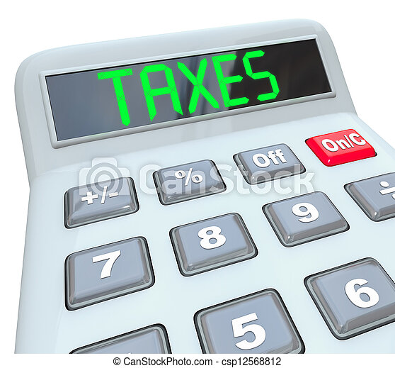 Taxes - Word on Calculator for Tax Accounting - csp12568812