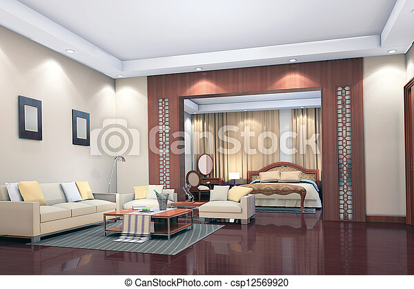 stock foto von inneneinrichtung modern wohnzimmer schalfzimmer render csp12569920. Black Bedroom Furniture Sets. Home Design Ideas