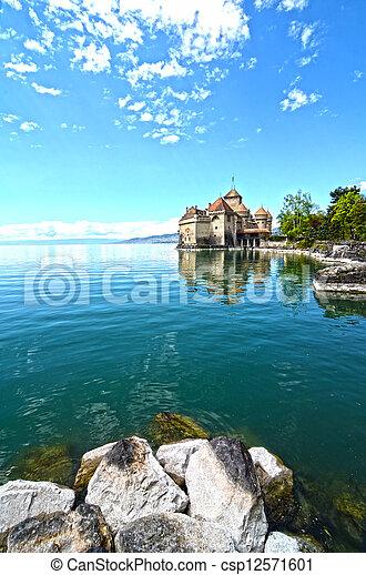 Chillon Castle at Geneva lake in Switzerland. - csp12571601