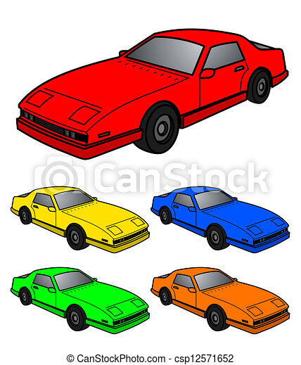 Clipart Vector of five color cars - Illustration of five color ...