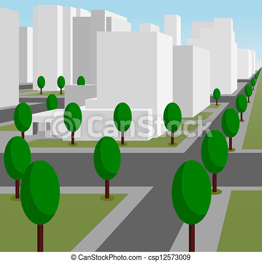 Vector street in a modern city stock illustration royalty free