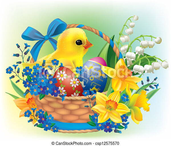 Easter basket with a baby chick - csp12575570