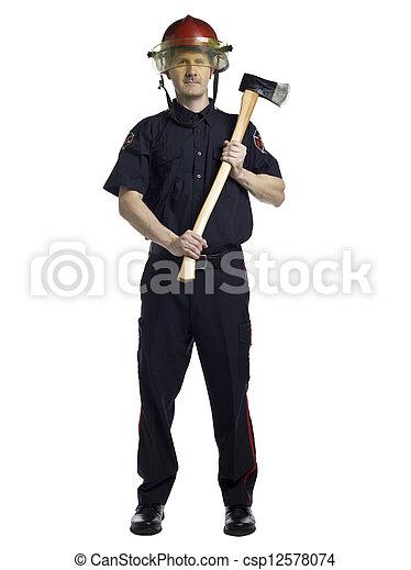 fireman holding axe
