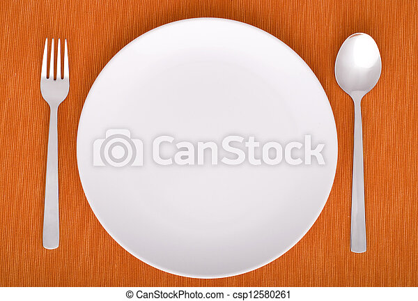 closeup of a place setting with dinner-plate - csp12580261