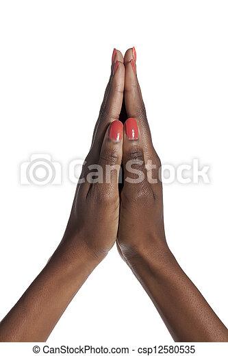 Womans, orando, mãos - csp12580535